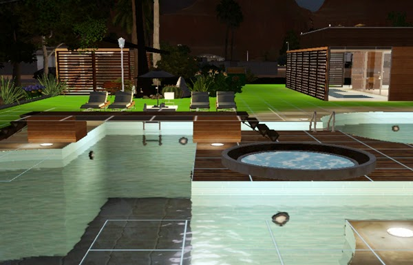 Koalafolio sims3 house living design wooden box house for Pool design sims 3