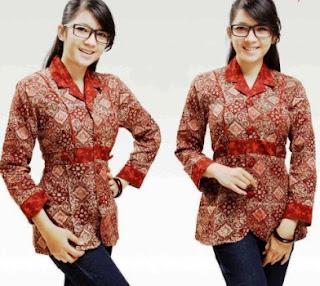 Koleksi Model Baju Batik Remaja Putri Muslim Lengan Panjang Terbaru