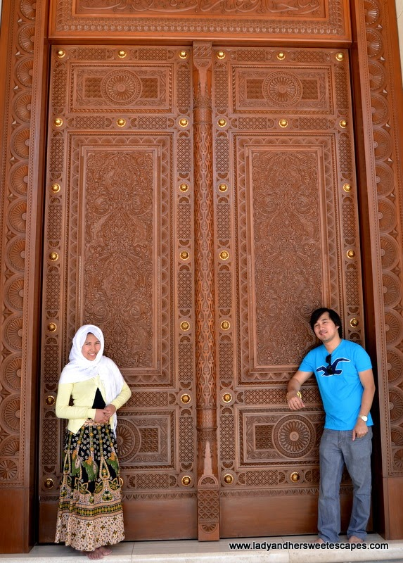 Sultan Qaboos Grand Mosque's huge carved wood doors