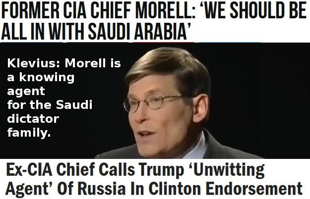 Michael Morell (ex-CIA) is/was a knowing agent for Saudi wahhabism and its Koranic hate jihadism