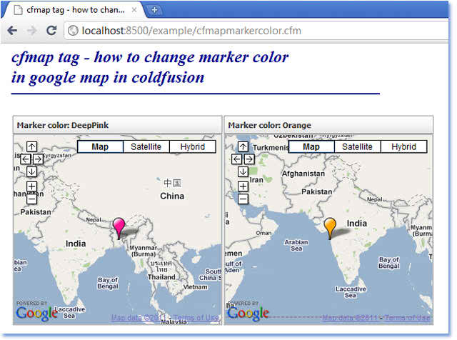 CFMAP How To Change Google Map Marker Color In ColdFusion - How to change color of google map