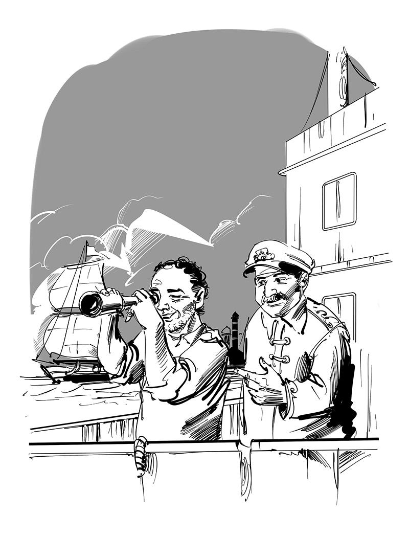 kids novel illustration sailors