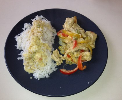 Coconut turkey and peppers