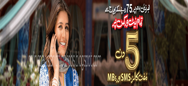Warid New SIM Offer 5 Days Free SMS,MBs,Calls