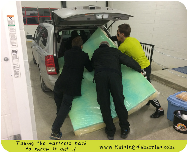 Loading a Queen Foam Mattress into a Mini Van