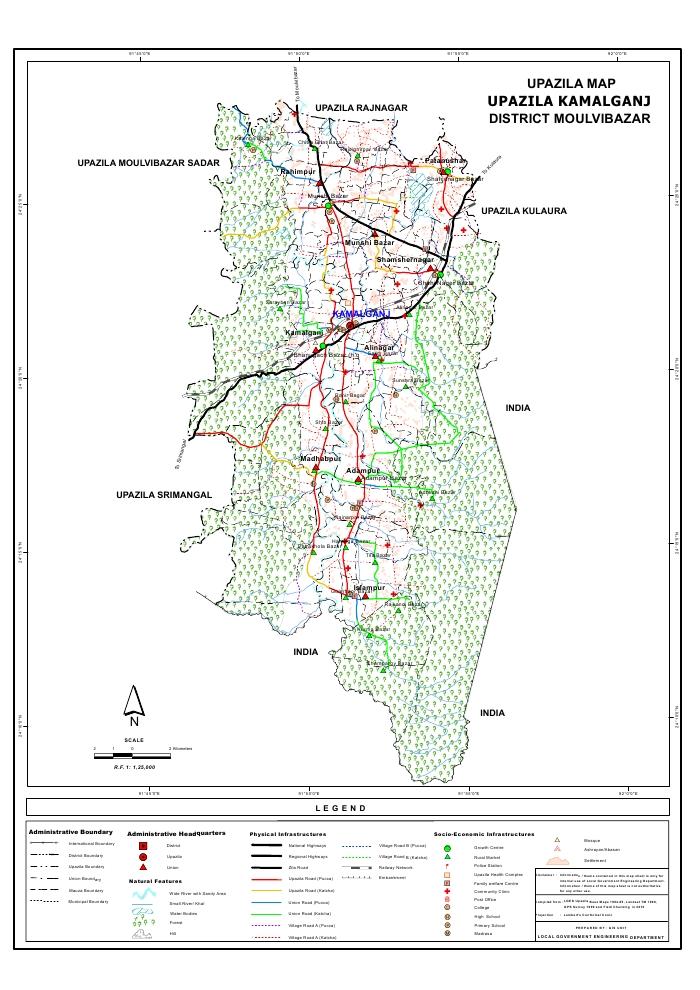 Kamalganj Upazila Map Moulvibazar District Bangladesh