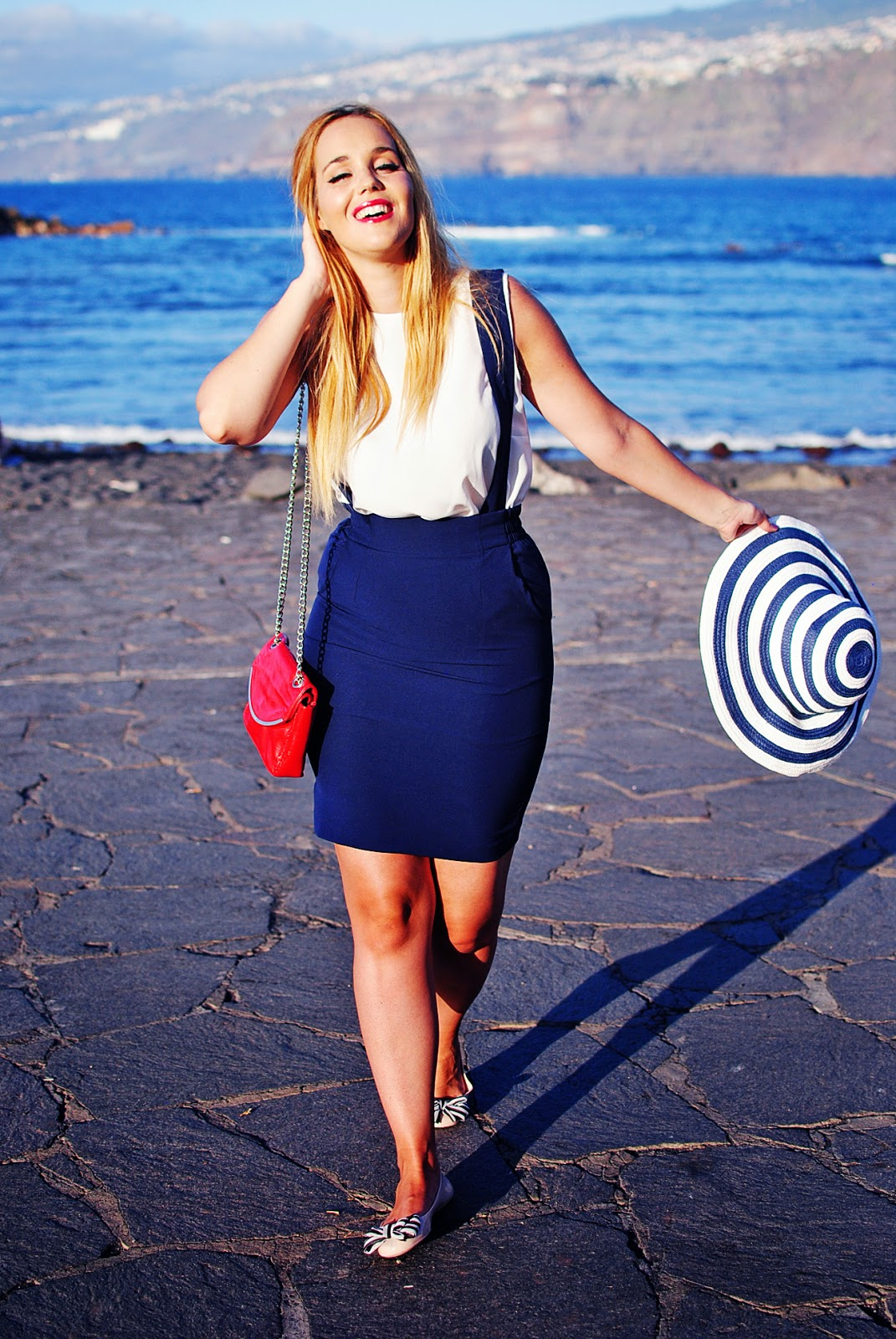 navy look , nery hdez, oasap skirt, tirantes, suspenders skirt, hat