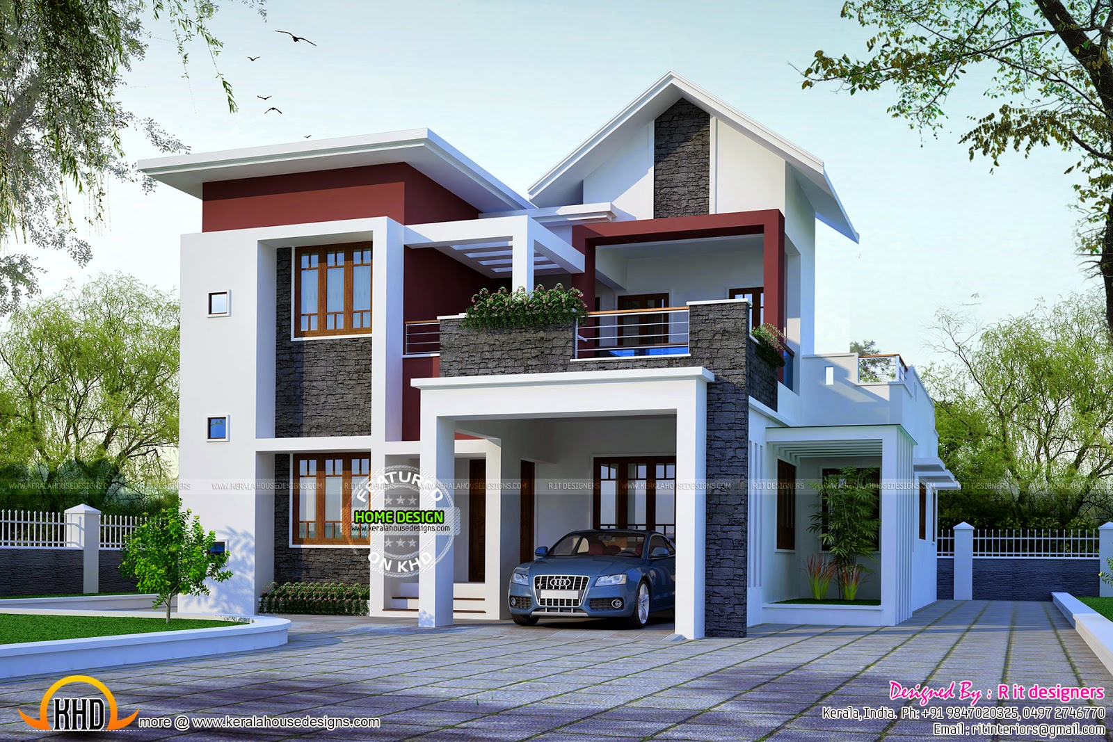 Front Car Porch Elevation : April kerala home design and floor plans