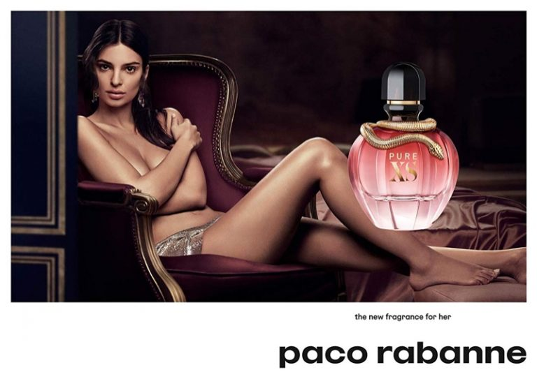 Emily Ratajkowski poses topless for Paco Rabanne Fragrance Campaign