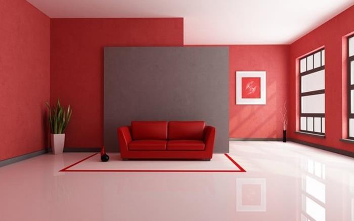 kırmızı salon dekorasyon fikirleri