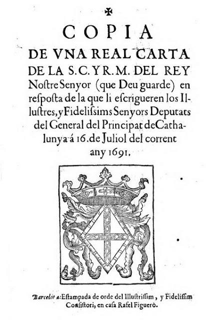 Si el escudo de los cuatro palos es el propio histórico de Cataluña como dicen los separatas, ¿por qué en este documento oficial emitido desde Barcelona en 1691 estampan la Cruz de San Jorge?