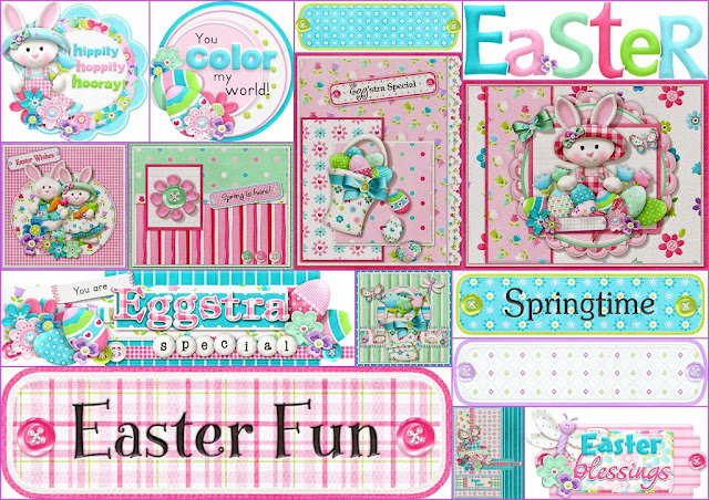Signs and Cards of the Easter Cuties Clip Art.