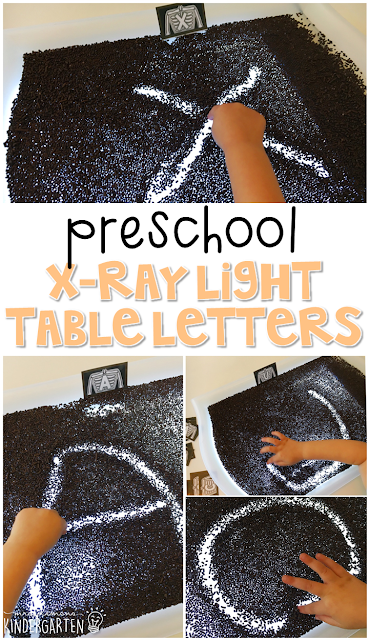 This x-ray sand tray is perfect for letter writing and fine motor practice with a human body theme. Great for tot school, preschool, or even kindergarten!