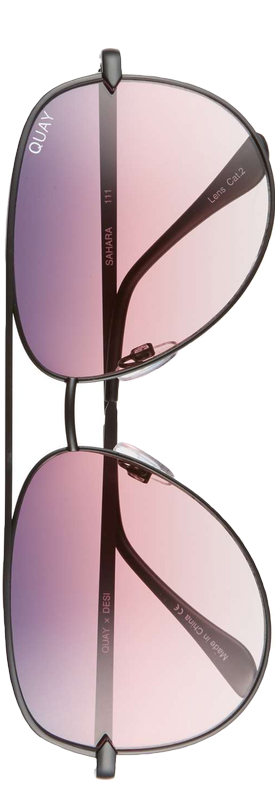 Quay x Desi Perkins Sahara 60mm Aviator Sunglasses