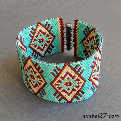 браслет из бисера бирюзовый широкий этно украшения в стиле бохо