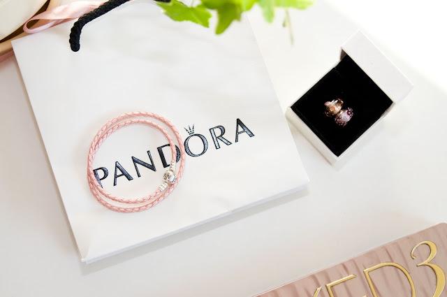 różowy rzemyk ze skóry Pandora baza bronsoletki