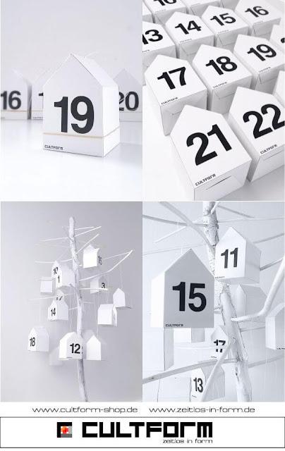 Die Hausbox von Cultform. Ein eindrucksvolles und doch einfaches DIY: kleine Geschenke individuell modern verpacken im aktuellen Watercolor-Trend: Adventskalender Hausbox24, mit ZAhlen in Helvetica