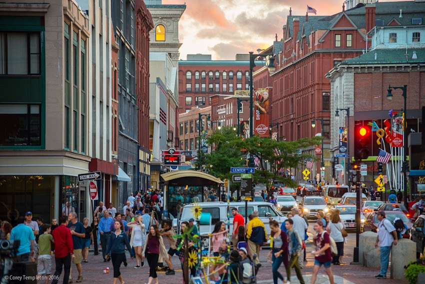 Portland, Maine USA September 2016 First Friday Art Walk from Monument Square at Sunset on Congress Street. Photo by Corey Templeton.