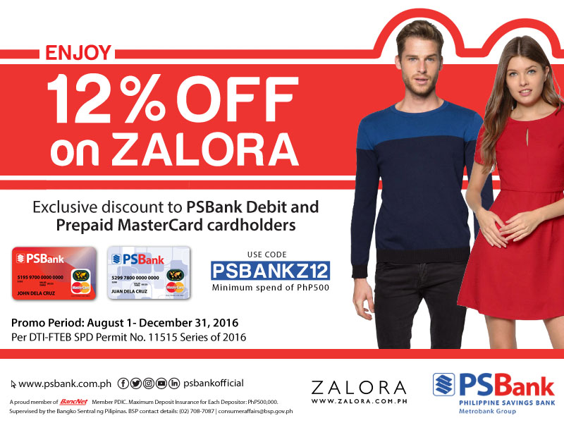 Get 12% off on ZALORA with your PSBank Debit and Prepaid MasterCard