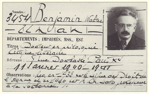Doctor Ojiplatico. Walter Benjamin's library card, Bibliothèque Nationale, Paris, 1940
