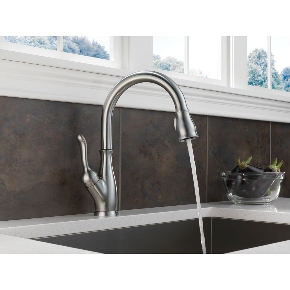 Delta Savile Stainless 1 Handle Pull Down Kitchen Faucet Review Kitchen Remodel Cabinet Sink