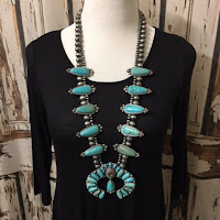 Squash Blossom Natural Turquoise Necklace Naja Navajo Beads Pendant