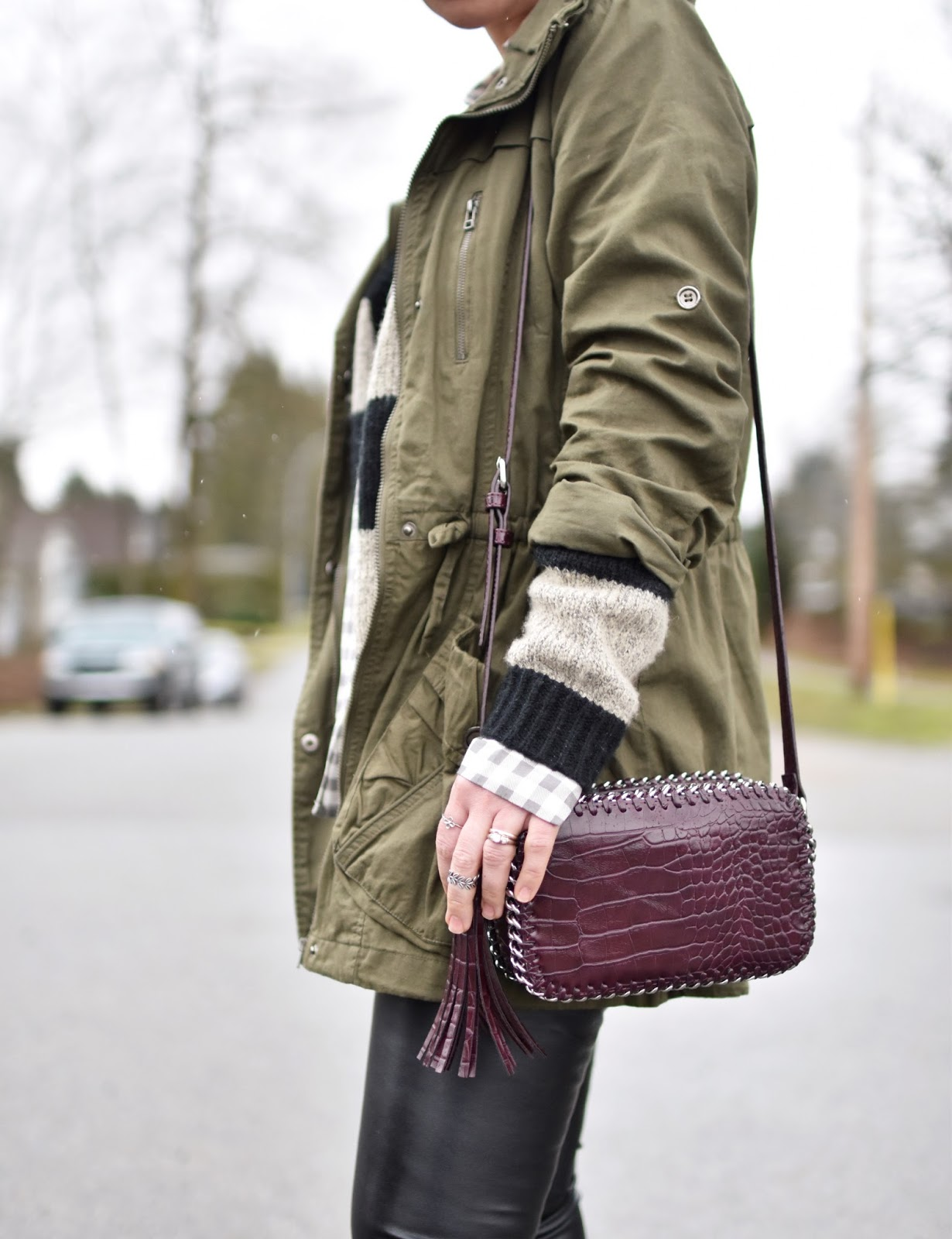 Monika Faulkner outfit inspiration - gingham shirt, striped cardigan, army-style parka, cross-body bag