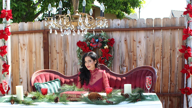 Joanna Joy Vintage Christmas Victorian Style Christmas velvet French settee burgundy lace chandelier poinsettia