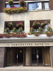 Colour Photo of front entrance to 3-8 Porchester Gate, West London