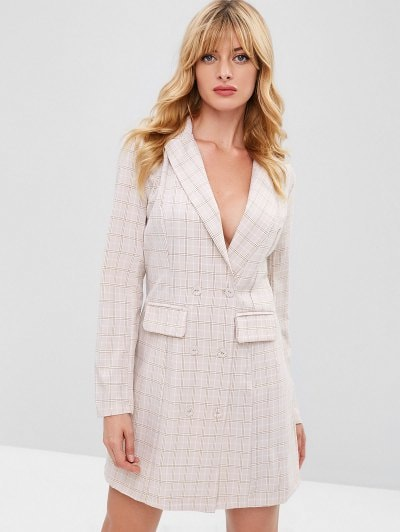 ZAFUL Button Up Blazer Xadrez Vestido - Multi M
