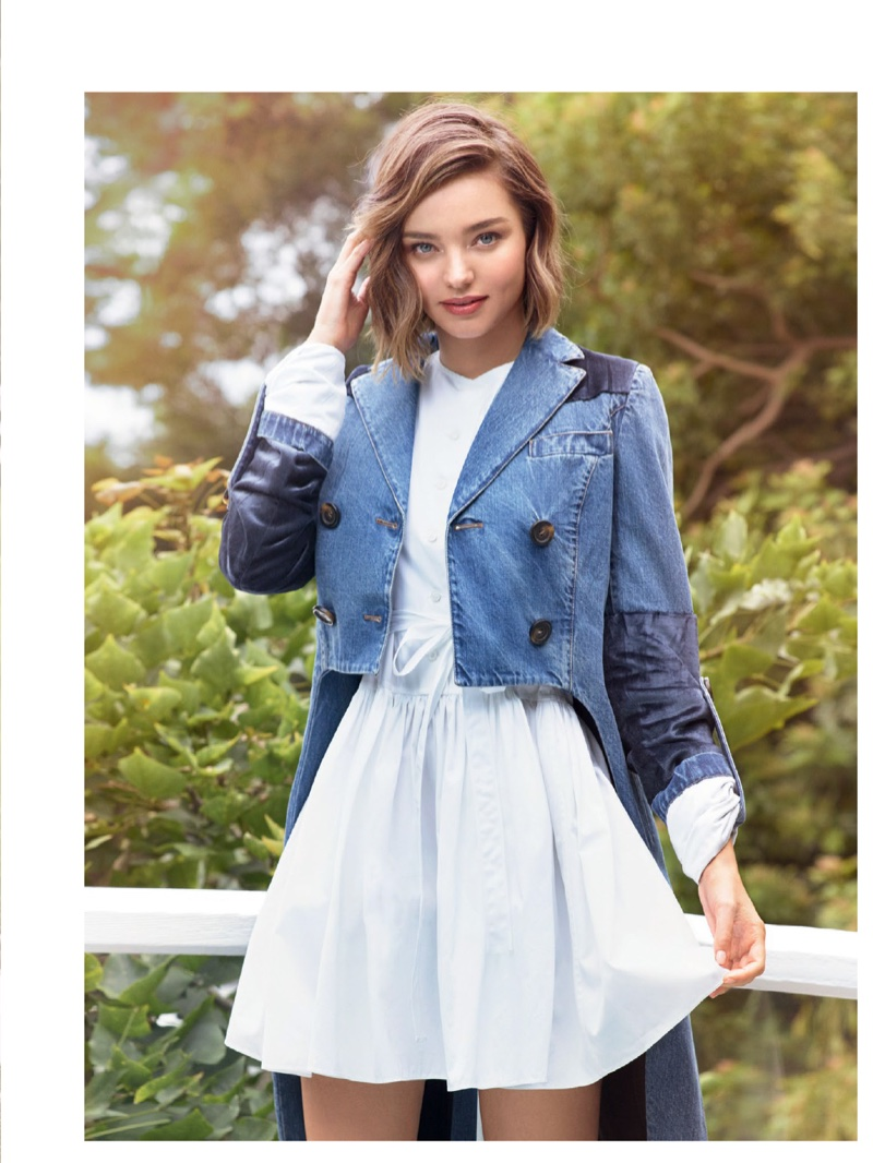 Miranda Kerr wears shrunken denim jacket with fit and flare dress