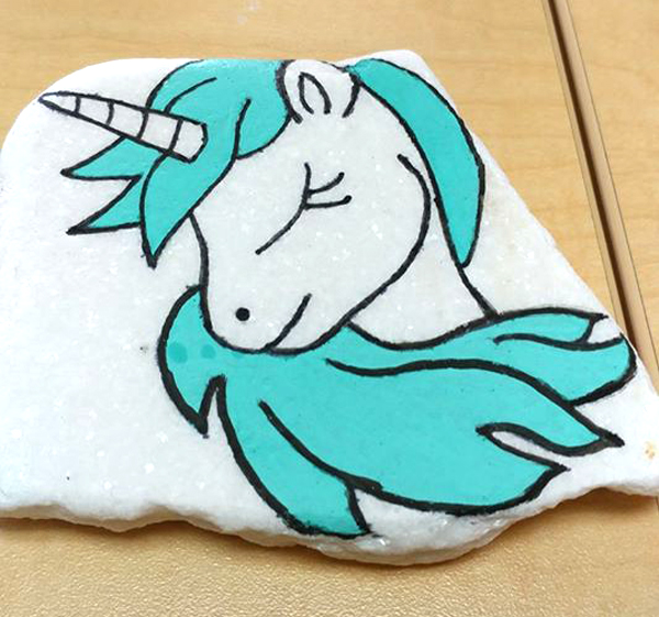 rock painting ideas - cartoon unicorns