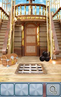 На палубе корабля стоит сундук и ядра на 2 уровне игры