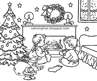 December holiday tree decoration merry Xmas activities color online Christmas adults coloring sheets
