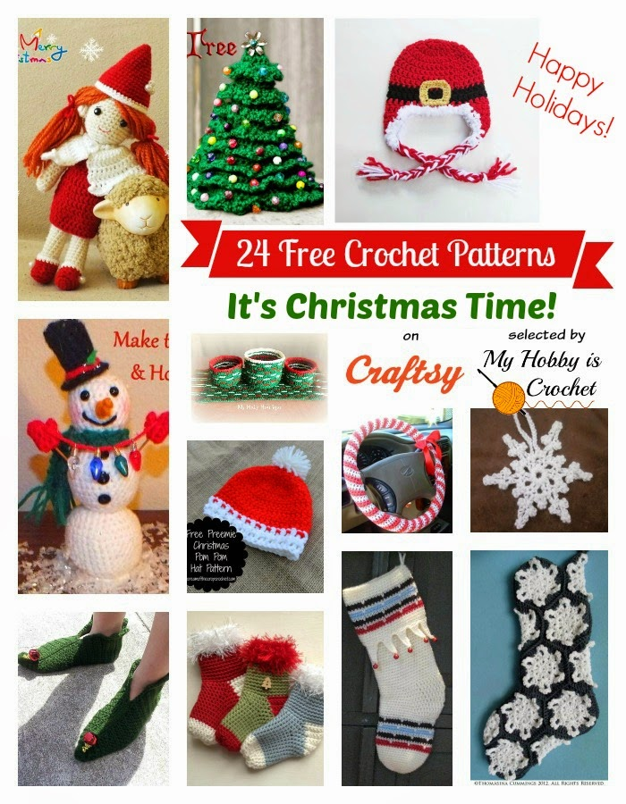 24 Christmas Themed FREE Crochet Patterns on Craftsy compiled on My Hobby is Crochet Blog