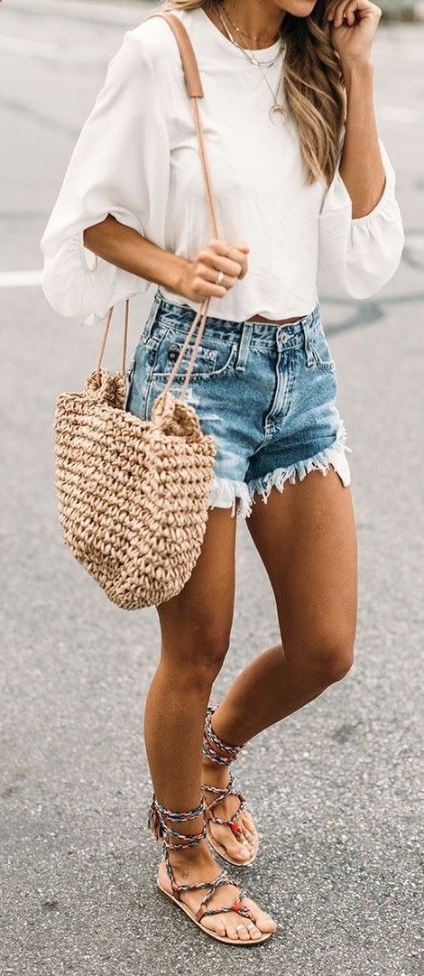 trendy summer outfit / sandals + bag + shorts + white top