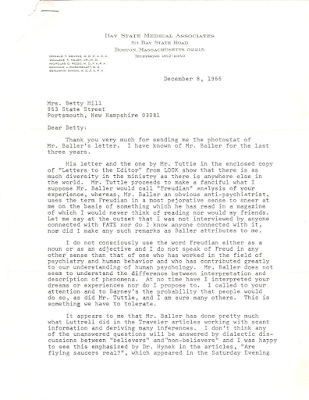 Letter To Betty Hill From Dr Benjamin Simon (pg 1)  12-8-1966