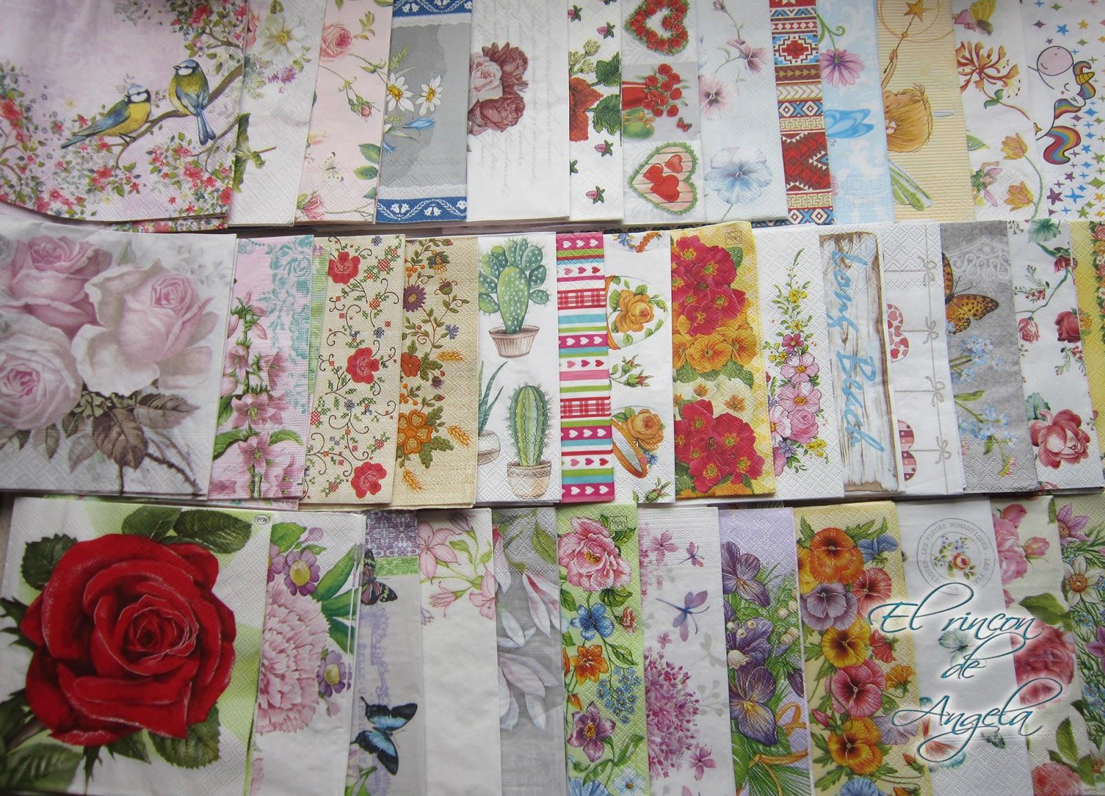 El rincon de angela mi compra de servilletas decoradas for Decoupage con servilletas en muebles