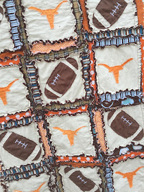 Football Rag Quilt with Longhorn Silhouette Applique baby quilt