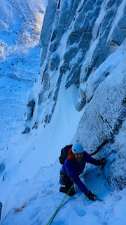 Winter climbing on Cnap Coire na Spreidhe Cairngorms