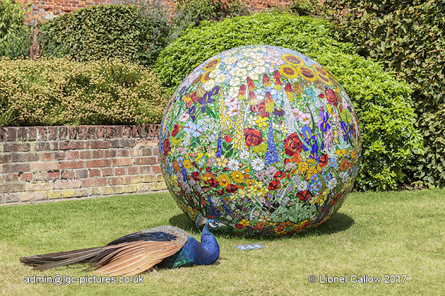 A large ball made with stained glass mosaic. In front is a live peacock .