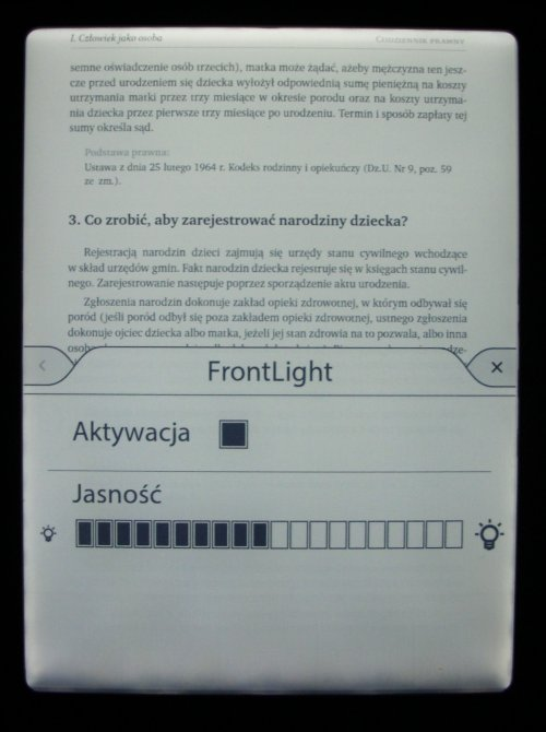 Cybook Frontlight HD - średni poziom podświetlenia