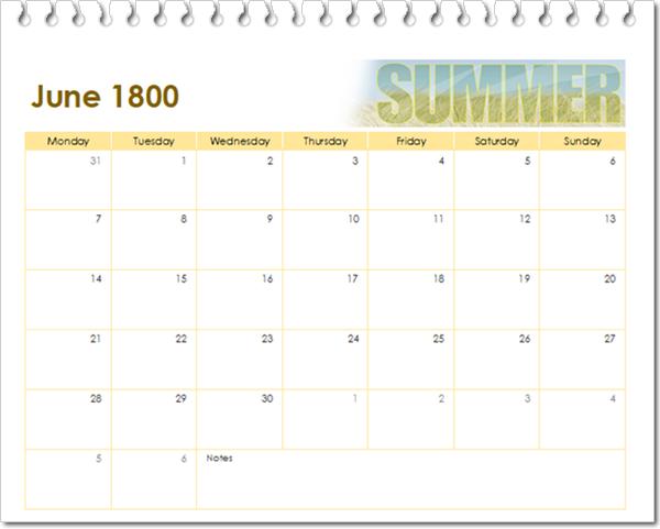 kalender juni 1800
