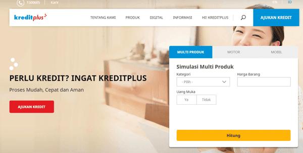halaman website kredit plus untuk pengajuan kredi secara online dan muidah