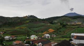 Suasana desa dengan gunung dan sawah yang hijau