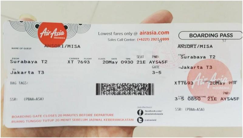 Tiket boarding pass AirAsia yang diunggah netizen