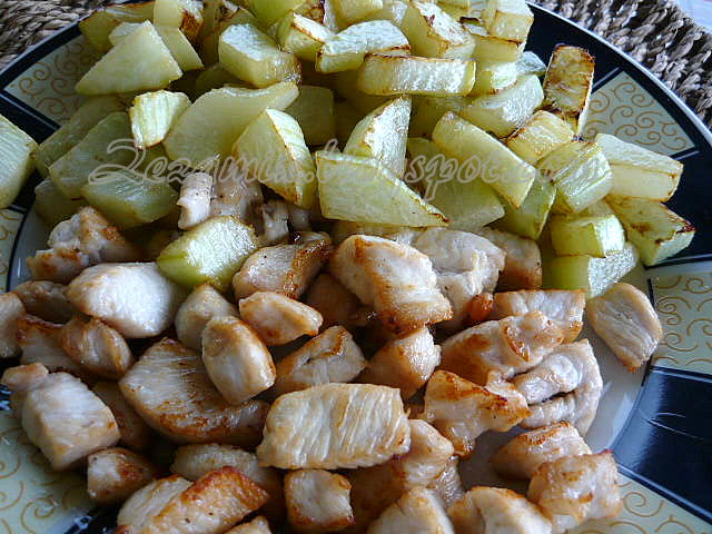 chicken and zucchini, quickly fried