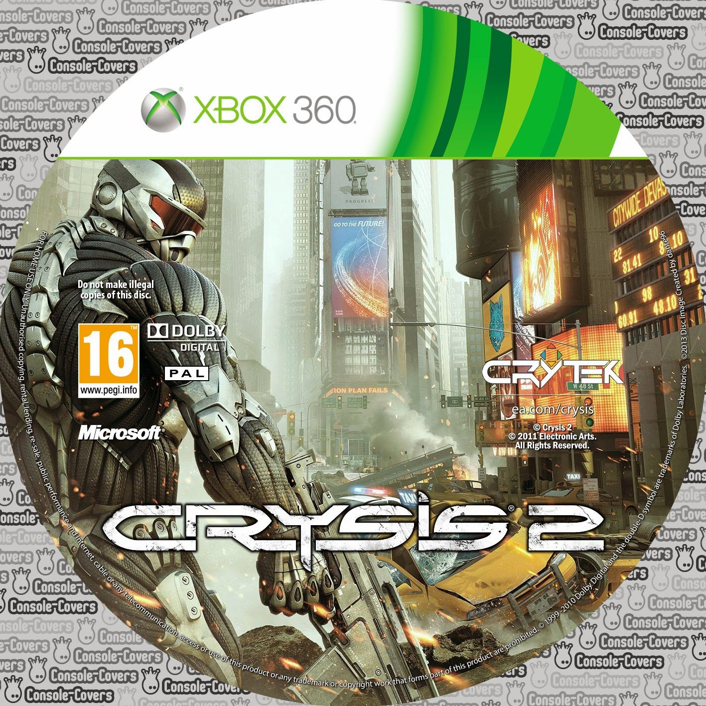 Labels Crysis 2 Xbox 360