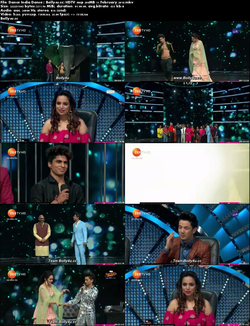 Dance India Dance HDTV 480p 200MB 11 February 2018 Download