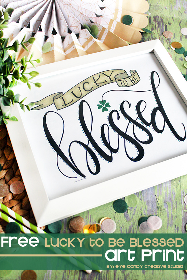 st pattys day art, free blessed art, blessed, st patricks day, lettering